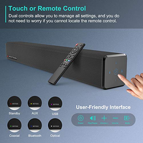 Sound Bar, Bestisan Sound Bar for TV, Soundbar with Dual Bulit-in Subwoofer,Wired & Wireless Bluetooth 5.0 Speaker for TV, Optical/Aux/Coaxial,Surround Sound System for TV & Home Theater