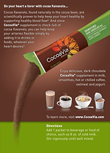 CocoaVia Unsweetened Dark Chocolate 375 mg 30 Count