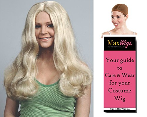 Charlie's Angels 1970s Costumes (Bundle 3 items: Cheryl Ladd Charlie Angel Dark Blonde 70s Long Wavy Kris Munroe Tiegs Enigma Wigs - Color Dark Blonde, Wig Cap, MaxWigs Costume Wig Care Guide)