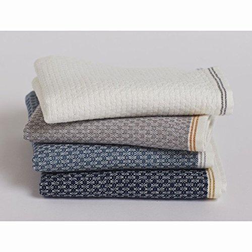 Coyuchi Mediterranean Organic Wash Cloth - White with Gray Stripe