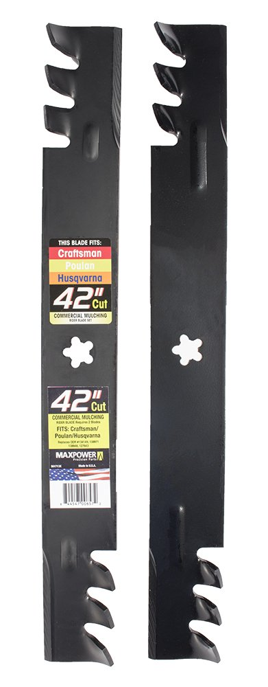 Maxpower 561713X Commercial Mulching 2-Blade Set for 42 Inch Poulan/Husqvarna/Craftsman Replaces 138498, 138971, 138971X431, 532138971, and Many Others
