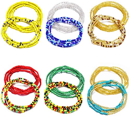 Sunmoon 4-12Pcs Beads Waist Set for Women Girls African Beaded Body Chain Waist Belly Chain Stretchy Elastic String Multi-Color Necklace Bracelet Anklet Sexy Bikini Summer Jewelry
