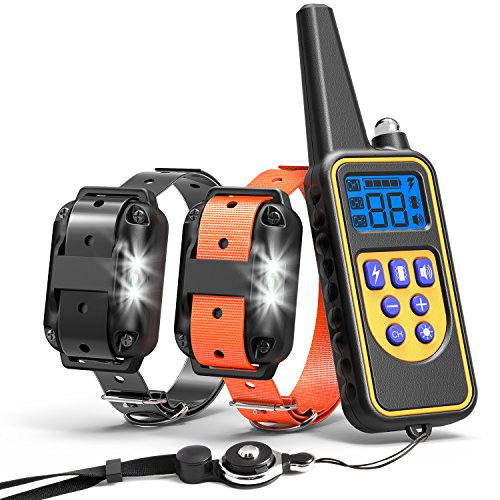 Cambond Dog Training Collar, 2 Dog Shock Collar with Remote 2600ft Range Waterproof Electronic Dog Collar for Medium and Large Dog with 4 Training Modes Light Shock Vibration Beep by Cambond
