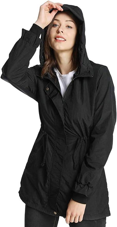 Details about  /Womens Raincoat Windproof Rain Long Jacket Winter Outdoor Coat Waterproof Hooded