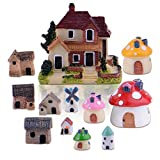 Zealor 12 Pieces Miniature Fairy Garden House and Terrarium Mushroom Fairy House Statue