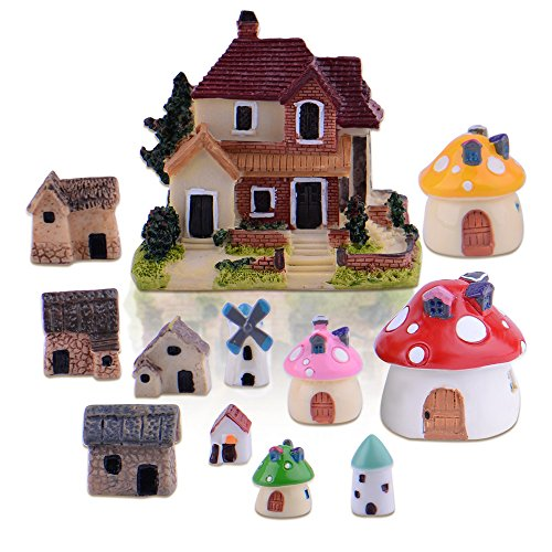 Zealor 12 Pieces Miniature Fairy Garden House and Terrarium Mushroom Fairy House Statue ()