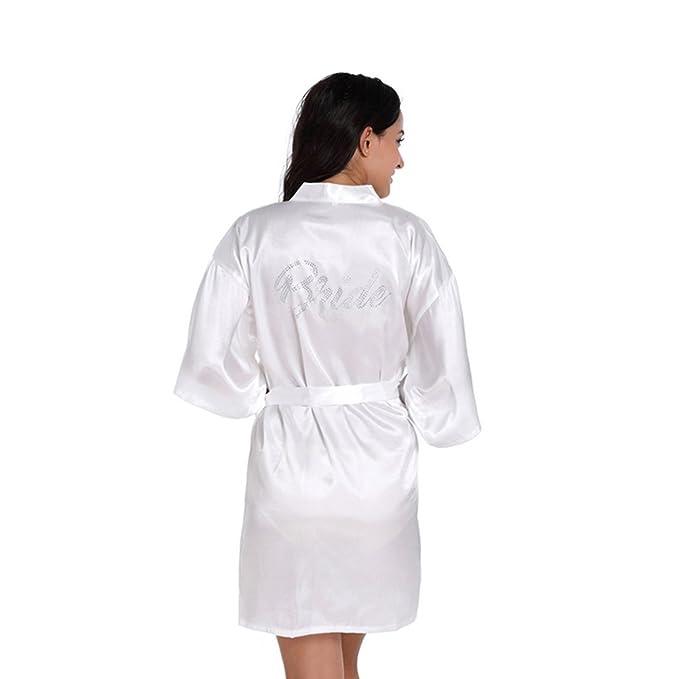 Free Fisher Pijama Mujer Vestido Bata Kimono Corto de Seda Albornoz Camisón Elegante, Blanco,