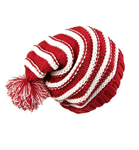 Sumolux Christmas Hat Warm Knitted Pom Stripe Cuff