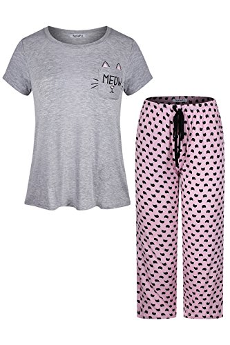 n Printed Short Sleeve Capri Pant Pajama Set Grey Pink M (Cotton Capri Set)