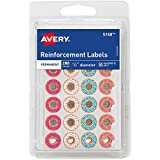 """Avery Fashion Reinforcement Labels, Assorted Donut Designs, 1/4"""" Diameter, Pack of 280 (5748)"""