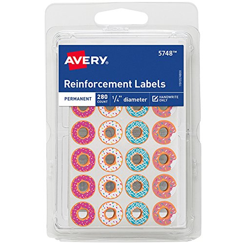 Avery Fashion Reinforcement Labels, Assorted Donut Designs, 1/4
