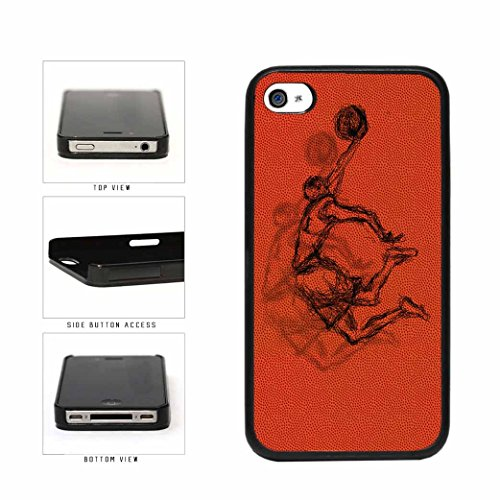 BleuReign(TM) Basketball Dunk Drawing On Basketball Background Plastic Phone Case Back Cover Apple iPhone 4 4s (4s Michael Jordan Iphone Case)