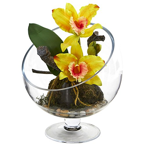 Nearly Natural 1636-YL Mini Orchid Cattleya Artificial Pedestal Vase Silk Arrangements, ()
