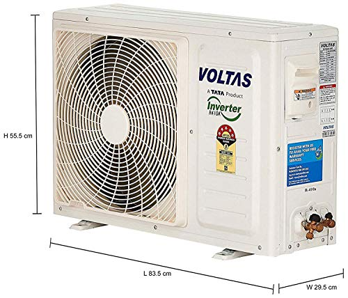 Voltas 1 Ton 5 Star Inverter Split AC (Copper SAC_125V_DZX White) 2021 July Split AC with inverter compressor: Variable speed compressor which adjusts power depending on heat load. It is most energy efficient and has lowest-noise operation Capacity: 1 Ton. Suitable for small sized rooms (< = 110 sq ft) , Full Load Capacity (100%) [W] :3600 , Noise Level - Indoor [dB(A)] :46 Energy Rating: 5 Star. Best in class efficiency. Annual Energy Consumption: 618.58 units. ISEER Value: 4.51 (Please refer energy label on product page or contact brand for more details)