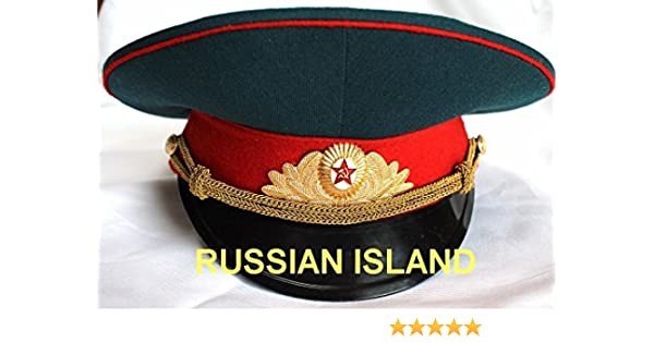 b59056fd37253 Amazon.com : Russian / USSR Army Military Hat / Officer's Cap + Soviet Red  Star Badge size M (US 7 1/8) : Sports & Outdoors