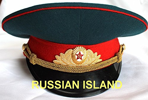 Russian / USSR Army Military Hat / Officer's Cap + Soviet Red Star Badge size M (US 7 1/8) -