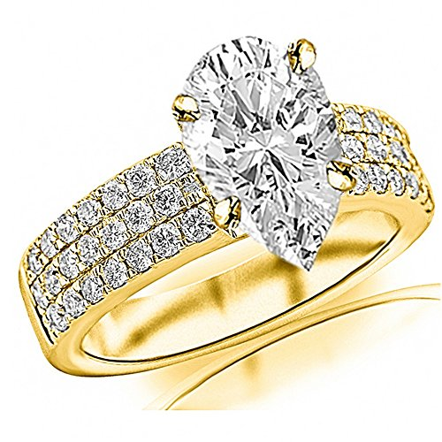 14K Yellow Gold 2.18 CTW Modern Triple Three Row Pave Set Round Cut Diamond Engagement Ring w/ 1.5 Ct GIA Certified Pear Cut F Color VS2 Clarity Center