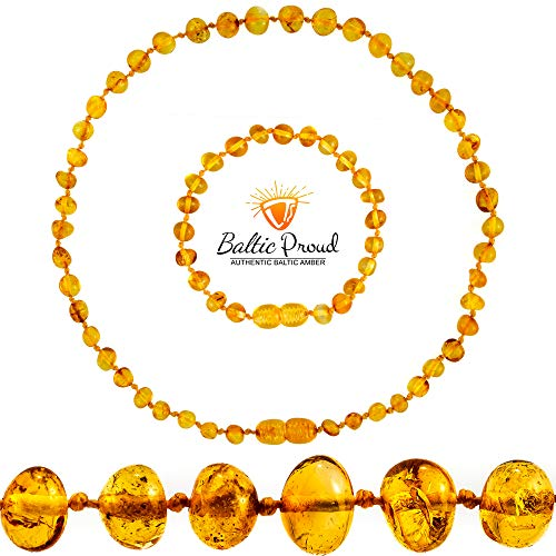 Baltic Amber Teething Necklace + Amber Teething Bracelet Gift Set for Babies (Unisex) (Honey - 12.5 Inches /5.5 Inches) - Amber Teething Anklet & Amber Necklace Teething Relief for Infant & Toddler