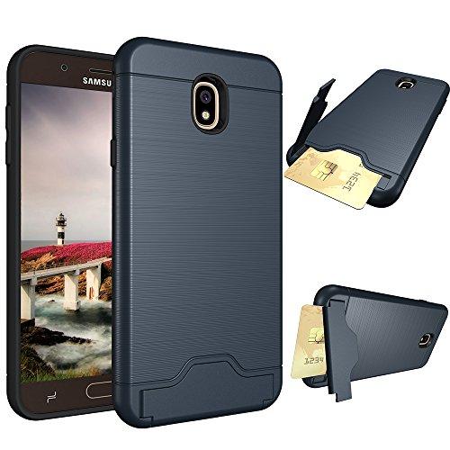 Galaxy J7 2018 Case, VPR Soft TPU & Hard PC Shockproof Protective Case with [Card Slots] [Kickstand] for Samsung Galaxy J7 2018/J7 Aero/J7 Top/J7 Aura/J7 Crown/J7 Refine/J7 Eon/J7 Star (Navy)