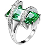 Womens Platinum Plated Square Cut Solitaire Emerald CZ Stretch Unique Design Promise Ring Wedding Band 10