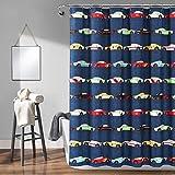 Lush Decor - Cortina de Ducha para niños, diseño de Coches de Carreras, 182,9 cm, Color Azul Marino