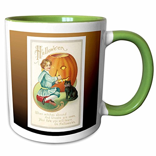 3dRose BLN Vintage Halloween - Vintage Halloween Little Boy Carving a Pumpkin with a Black Cat - 15oz Two-Tone Green Mug -
