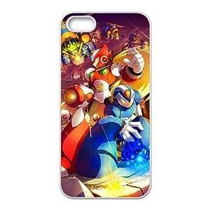 Generic for iPhone 5 5s Cell Phone Case White Mega Man Rock Man Custom HSKDKKALL4058