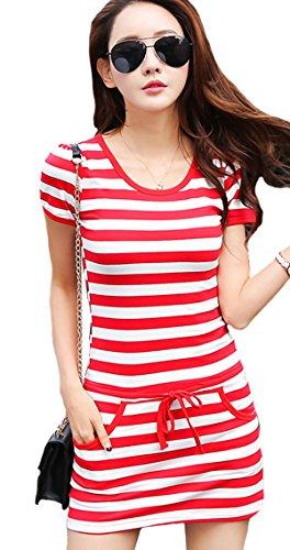 (ケイミ)KEIMI ミニ ワンピース レディース 半袖 Tシャツ ボーダー カジュアル スポーティー シャツ ゴルフスカート ポケット 大きいサイズ