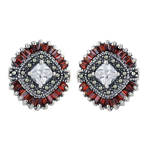 .925 Sterling Silver CZ with Marcasite Earrings-garnet CZ (Sterling Silver Garnet Marcasite Earrings)