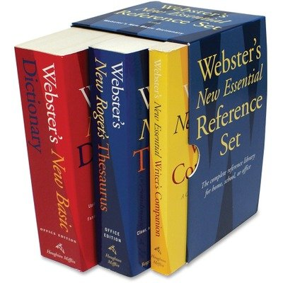 Houghton Mifflin Products - Houghton Mifflin - Webster's New Essential Reference 3-Book Desk Set, Paperback - Sold As 1 Set - Features three handy-size reference books. - Dictionary has 60,000 definitions. - Thesaurus has 35,000 synonyms. - Includes New E by Houghton Mifflin