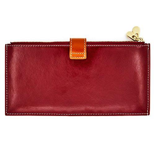 Cell Leather Closure Handbag Blocking Red amp; Women's Holder Phone Wallet Brown Purse Card Andoilt Rfid Genuine Credit Zipper EFqWOP