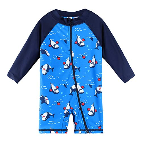 HUANQIUE Baby Boys Swimsuit Short Sleeve Sunsuit One-piece Rash Guard Navy 0-3 Month