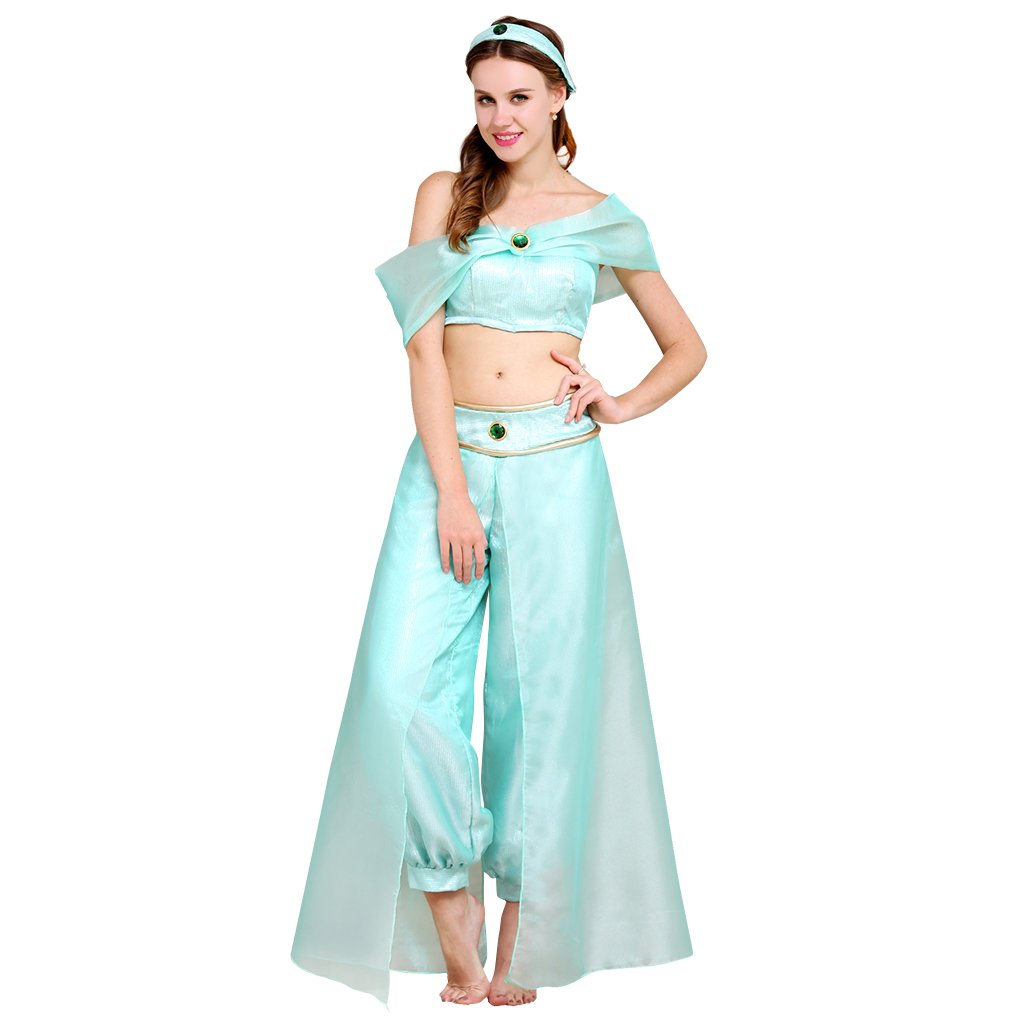Cosplayitem Women Girls Organza Costume Belly Dance Dress Set Tops Pants Princess Dress Small Plus Size Green