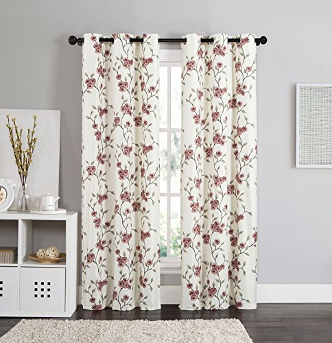 2 Blackout Room Darkening Window Curtains Grommet Panel Pair Drapes Thermal Floral Burgundy Red and Taupe 84""
