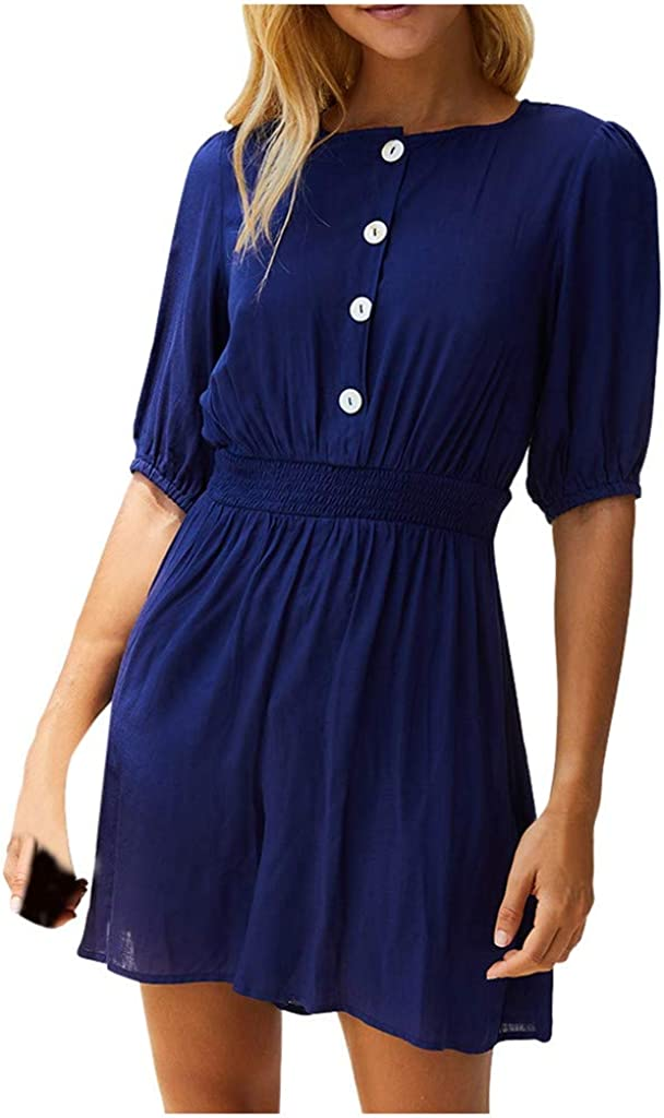 LEKODE Women Jumpsuits Mini Dress Solid Beach Fashion Rompers
