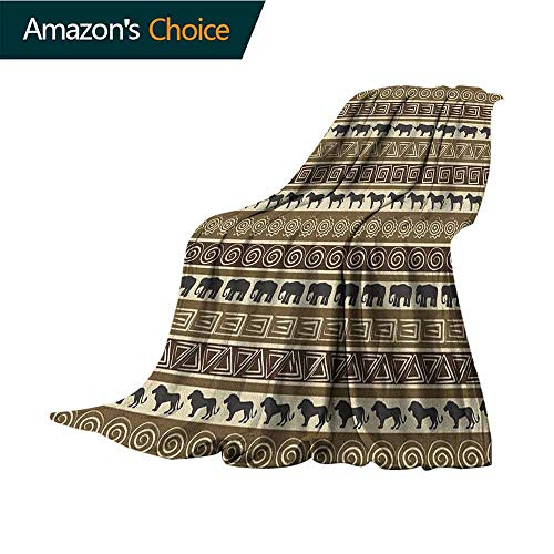 Safari Soft Blanket King Size,African Style Geometrical Pattern with Wild Animals in Horizontal Line Art Microfiber All Season Blanket for Bed or Couch Multicolor,50