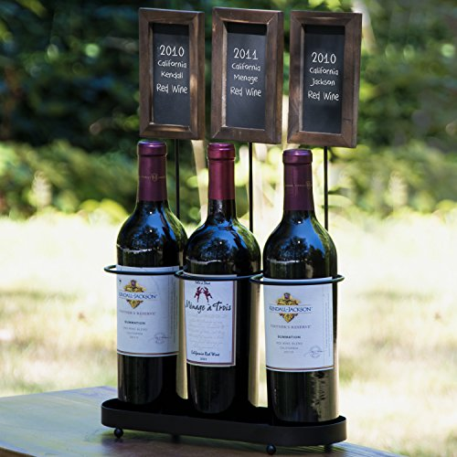 Black Metal 3 Wine Bottle Holder Server Rack w/ 3 Erasable Rustic Wood Framed Chalkboard Label Display Signs (Wine Framed Label)