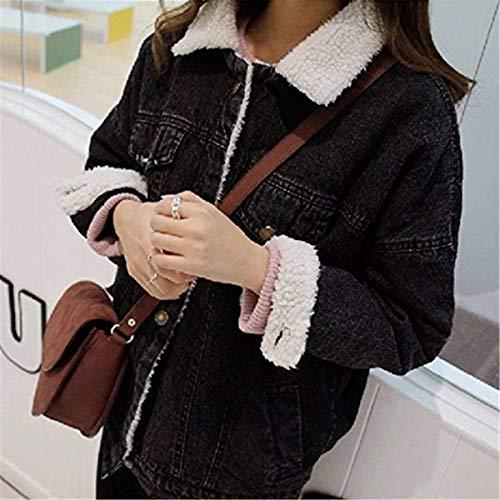 Baggy Autunno Women Vintage Fidanzato Manica Invernali Caldo Cappotto Giovane Lunga Giacche Casuali Moda Jeans Eleganti Giacca Addensare Giaccone Schwarz Donna wA6x4q51Sf