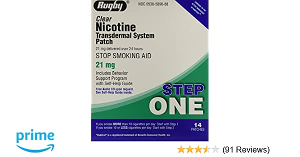 Amazon.com: Rugby Clear Nicotine Transdermal System Patch, 21 mg, 14 Count:  Health & Personal Care