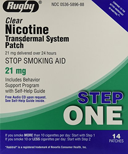 - Rugby Clear Nicotine Transdermal System Patch, 21 mg, 14 Count