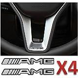 4 x AMG Steering Wheel Speaker Sticker Badge Logo Emblem Mercedes Benz Smart