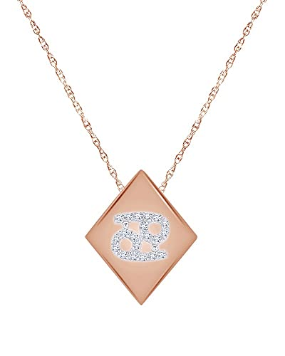 d6caaa33daf60 Amazon.com: Round Cut White Natural Diamond Cancer Pendant Necklace ...