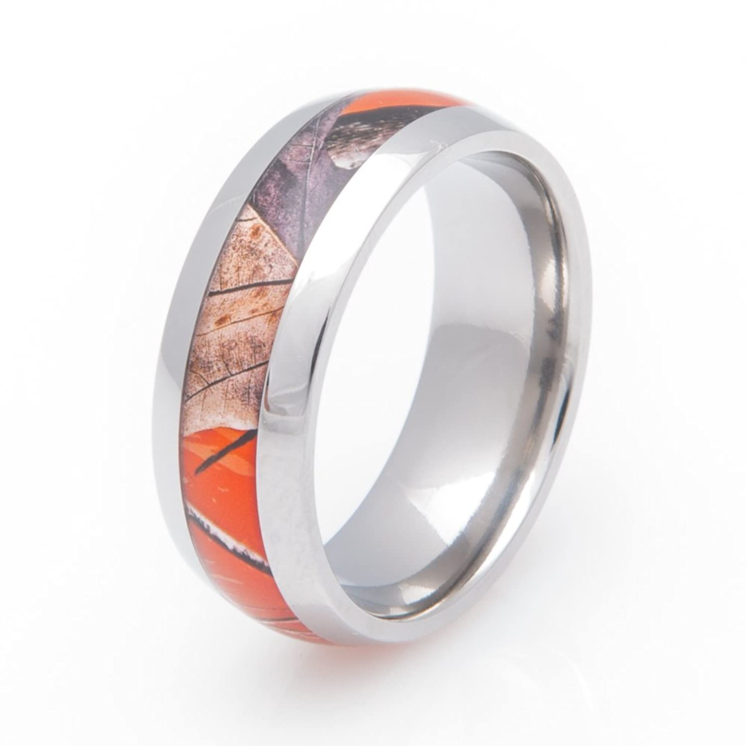Titanium Orange Realtree AP Camo Ring 8MM fort Fit