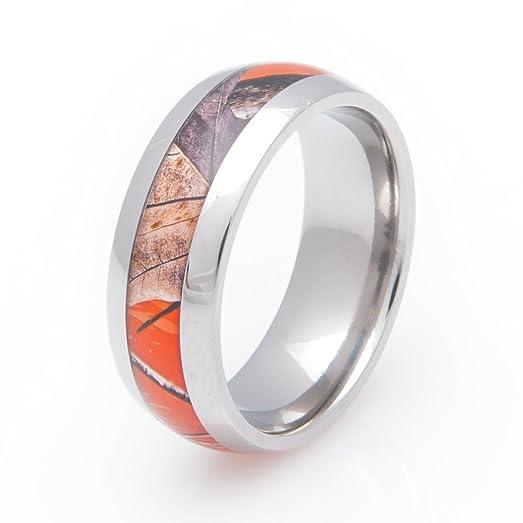 titanium realtree ap orange camo wedding ring 8mm comfort fit 4 - Orange Camo Wedding Rings