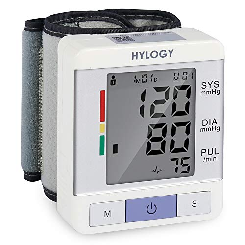 Wrist Blood Pressure Monitor HYLOGY Two Users Mode BP Monitor Automatic Measurement with Large LCD Display and Adjustable Wrist Cuff Monitoring Irregular Heart Rate Portable by HYLOGY