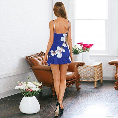 Senza LHWY Estate Abito Floreale Stampa Donna Con Maniche Abito Cerimonia Elegante Blu Vestito 0r0Tq