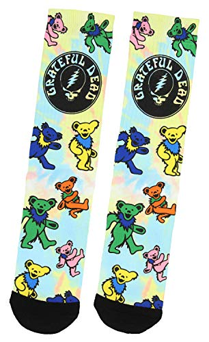 (Grateful Dead Tie Dye Dancing Bears Sublimated Adult Crew Socks 1 Pair)