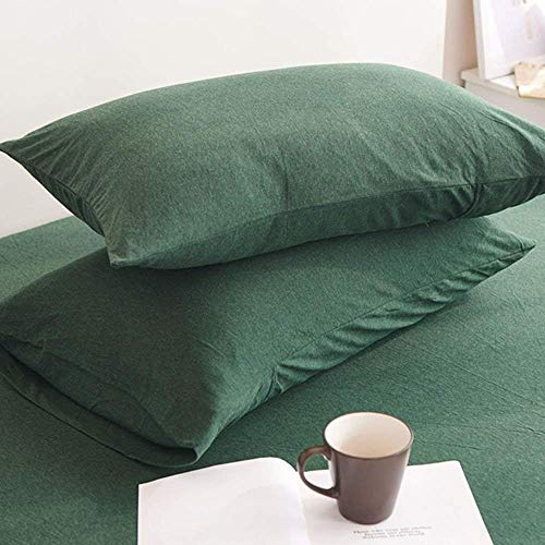 LIFETOWN Jersey Knit Cotton 2 Pieces Pillow Cases Super Soft and Breathable(Queen, Dark Green)