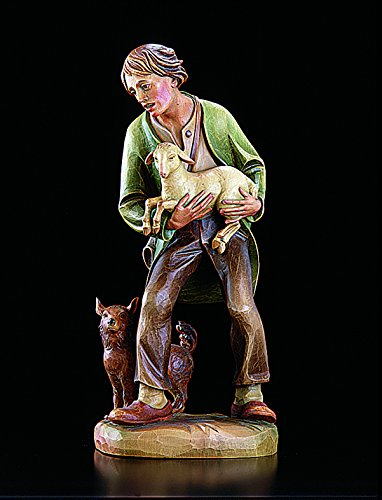 Shepard and Lamb with Dog Statue Val Gardena Nativity 32''H Resin. Collectible Figurine. VC968