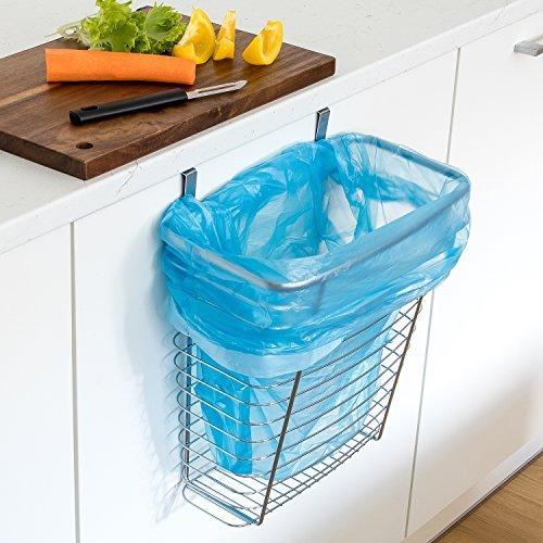 Tatkraft TOP Over the Cabinet Door Hanging Waste Basket, Trash Can or Storage Basket, Chromed Steel